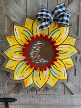 Load image into Gallery viewer, Burlap Sunflower Door Hanger - Yellow Fall Round Sunflower