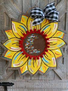 Burlap Sunflower Door Hanger - Yellow Fall Round Sunflower