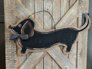 Dog Door Hanger - Whimsical Doxie in Black