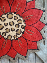 Load image into Gallery viewer, Burlap Sunflower Door Hanger - Red with Leopard Fall Round Sunflower