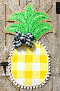 Burlap Pineapple Door Hanger Large Buffalo Check