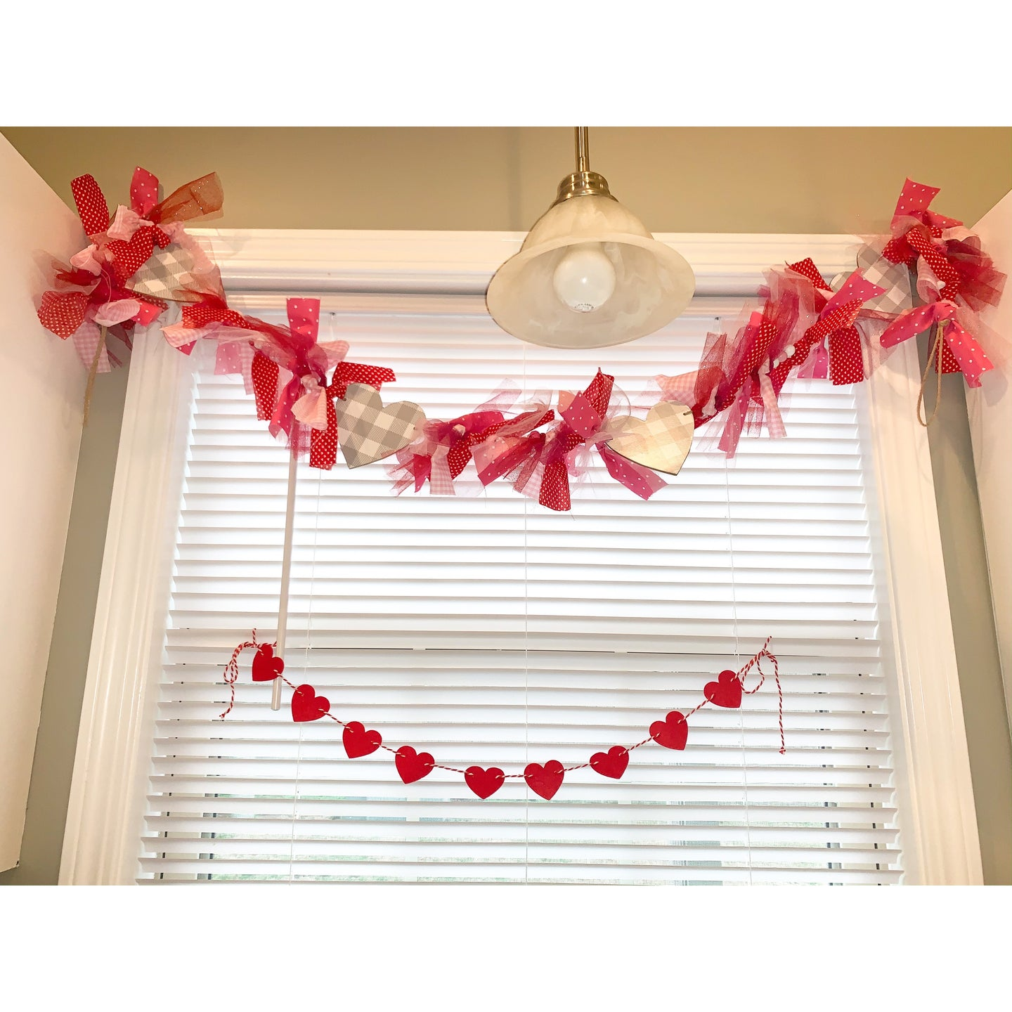 Hand Tied Valentine's Day Garland with Buffalo Check Hearts