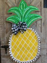 Load image into Gallery viewer, Burlap Pineapple Door Hanger (Large/Yellow/Criss Cross)