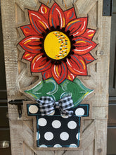 Load image into Gallery viewer, Burlap Sunflower Door Hanger - Large Red Fall in Flowerpot