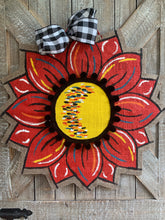 Load image into Gallery viewer, Burlap Sunflower Door Hanger - Red Fall Round Sunflower