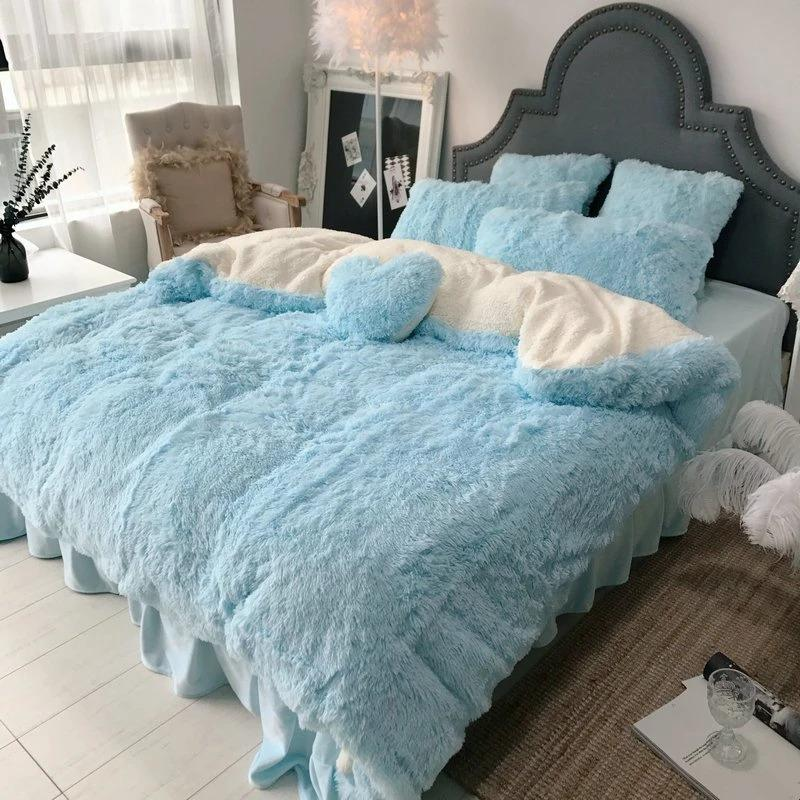4Pcs Coral Fleece Shearling Bedding Set Quilt Cover Bed Sheet Warm Mink Cashmere Cover Pillowcase(FREE SHIPPING)