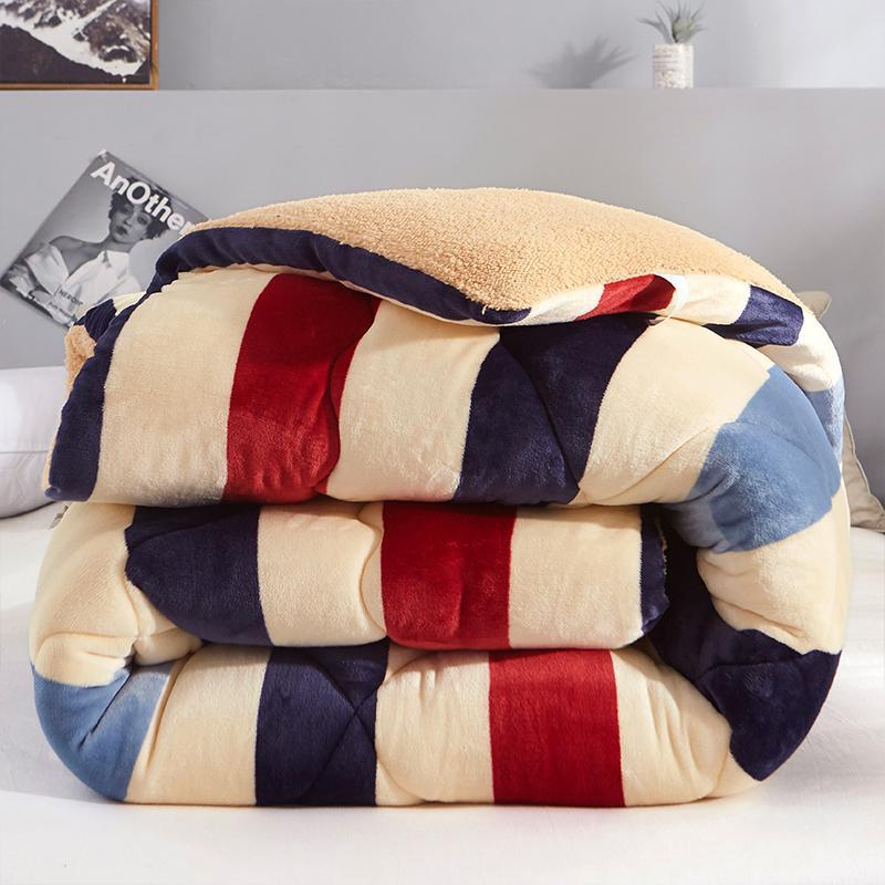 Thicken Shearling Blanket Winter Soft Warm Bed Quilt AB Sided Flannel Quilt