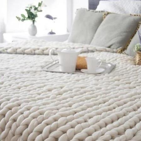 Hand Chunky Bulky Knitted Blankets Winter Soft Warm Throw DropShipping