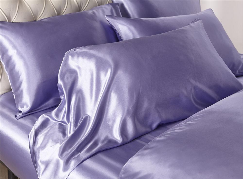 Satin silk duvet cover set US size 3pcs/set modern bedding grey oriental quilt covers bed set 7 colors