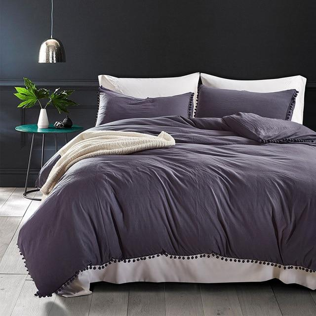 Solid Queen Size Bed Sheets Set Comfortable Twin Size Bedding