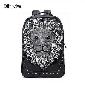 Rock Style 3D Lion Backpack Personality Bags