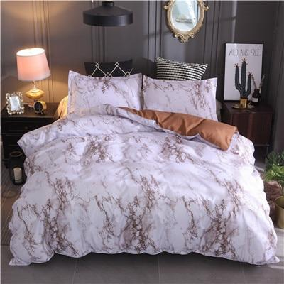 Printed Marble Bedding Set White Black Duvet Cover 3Pcs