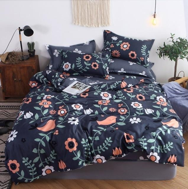 Bedding Set Blue Euro Bedspread Luxury Duvet Cover Double Bed Sheets (Shipping Fee Counts By Weight)