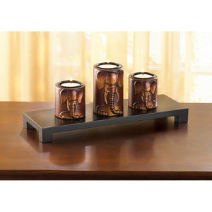 Ancient Elephant Candle Holder Trio