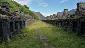 Wales, Llanberis, Dinorwic quarry- the remains of old quarry workers houses