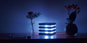 art futuro's Acrylic Light Cube with the blue light turned on