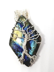 Sterling silver tree of life pendant over multi color labradorite