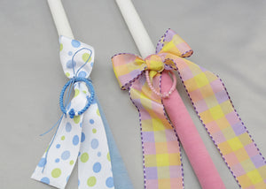 Pink & Blue Prayer Rope Easter Candles