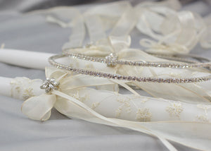 Life's Fairytale Wedding Crowns and Candles | Cream
