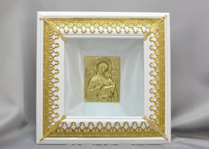 Gold Color Filigree Stefanothiki with Square Icon