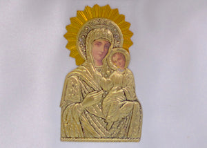 Gold Color Filigree Stefanothiki with Icon