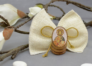 Round Wood Icon Baptism Favor