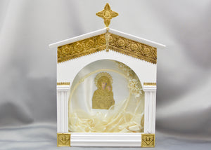Church Style White with Golden Filigree Stefanothiki