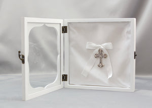 White with Rhinestone Cross Stefanothiki