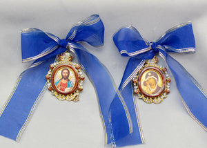 Christmas Tree Ornaments with Blue Ribbon