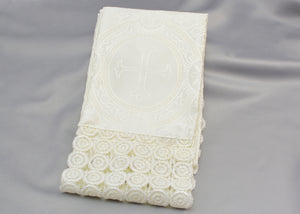 Lace Embellished Cross Fabric Serbian Hand Cloth - Peskir