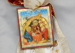 Nativity Icon Christmas Tree Ornaments