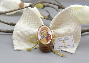 Round Wood Icon Bomboniera - Baptism Favor