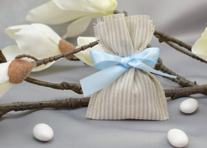 Striped Pouch Bomboniera - Baptism Favor