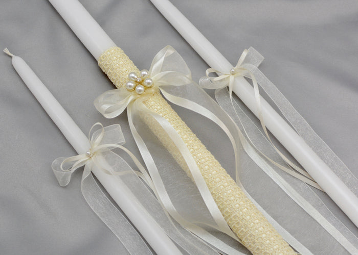 Catia Baptism Candles - Ivory