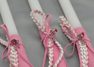 Pink Rhinestone Cross Easter Candles