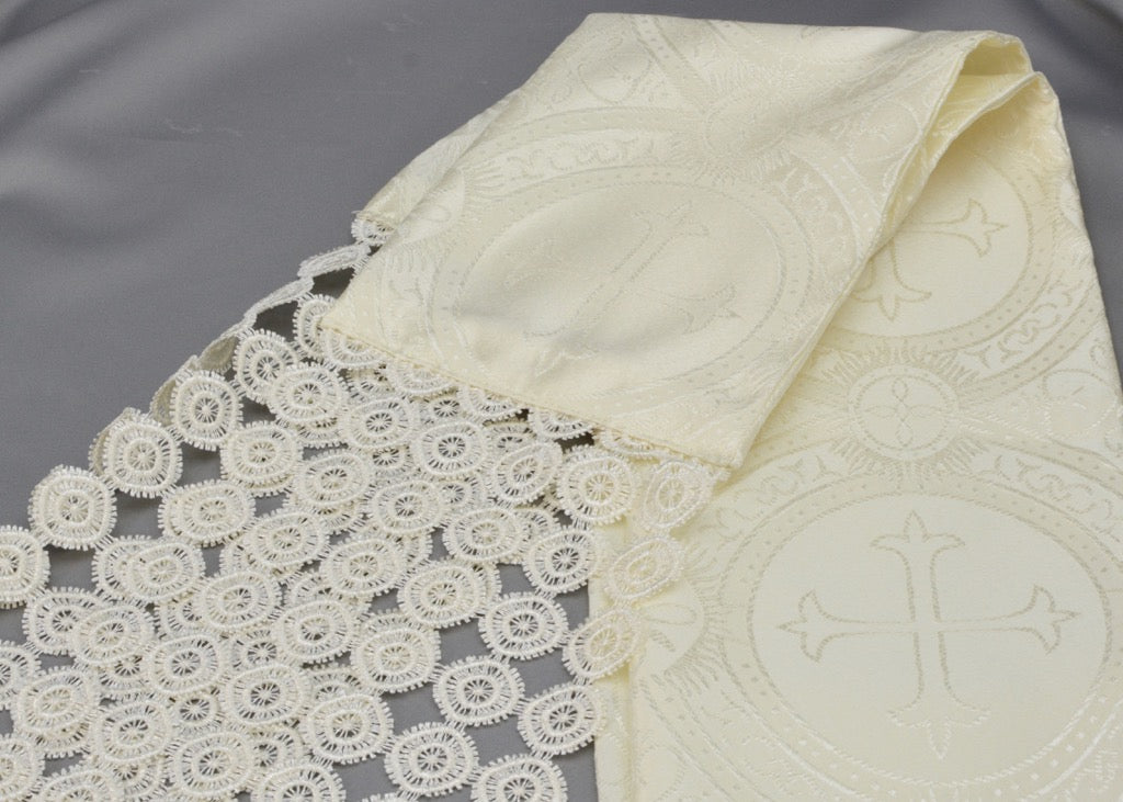 Lace Embellished Cross Fabric Serbian Peskir