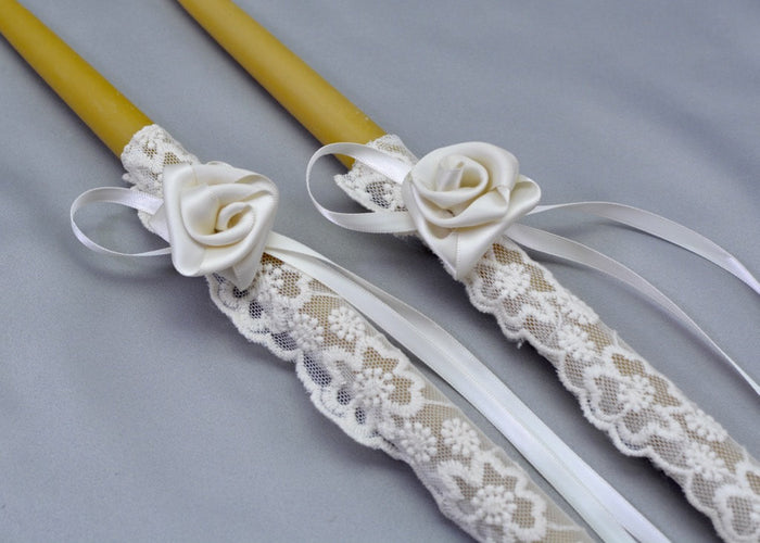 Love Story Beeswax Wedding Candles