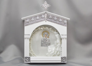 White Church Style with Silver Filigree Stefanothiki
