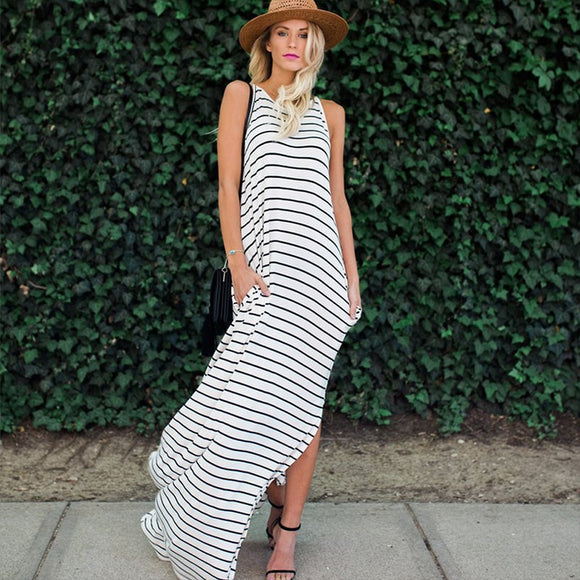 Stripe Shirt Maxi Dress