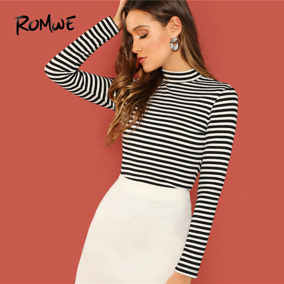 ROMWE Mock Neck Striped Long Sleeve