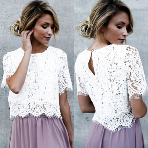 Short Sleeve Full Lace Blouse