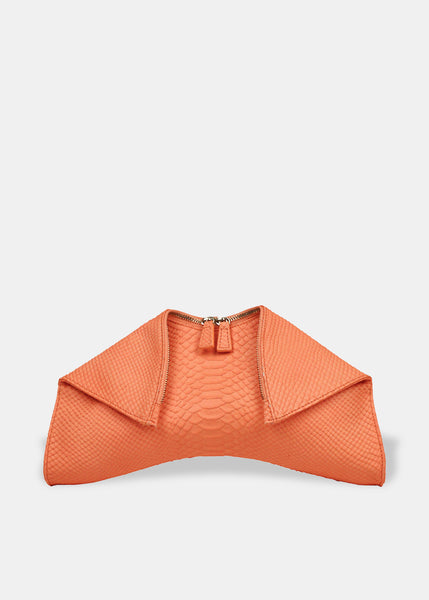 Medium Folded Clutch in Coral