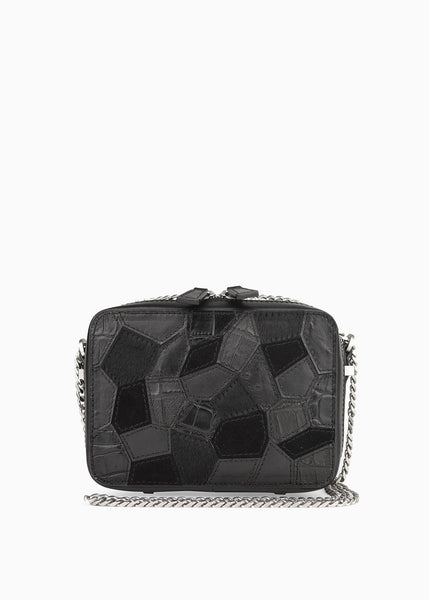 Mini Box Crossbody in Black Mixed Leather Patch