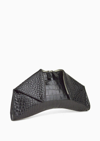 Medium Folded Clutch in Black Crocodile