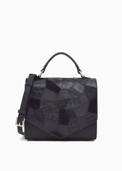 Nano Lady Triangle in Black Mixed Leather Patch