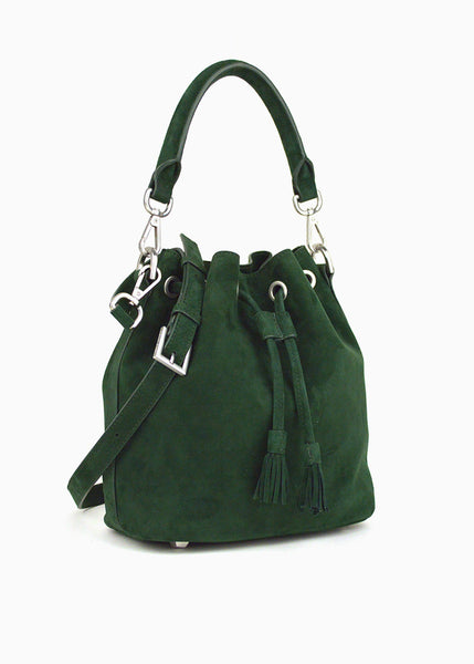 Alix Mini Bucket Bag in Forest Suede