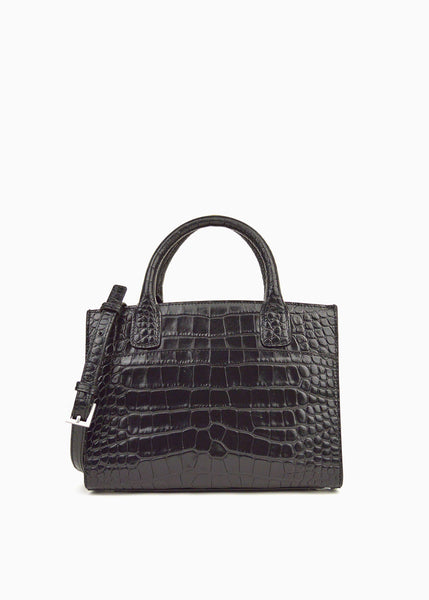 Mini Everyday Tote in Black Crocodile