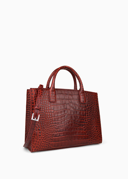 Medium Everyday Tote in Bitter Chocolate Crocodile