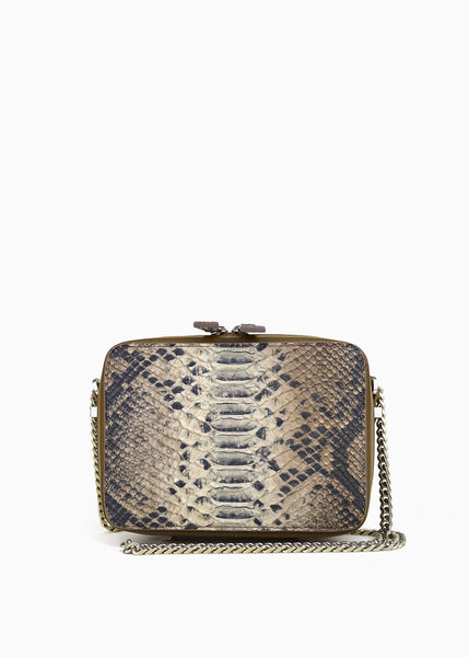 Mini Box Crossbody in Old Grey Wash Anaconda Python