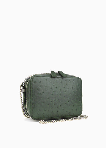 Mini Box Crossbody in Forest Pocho Ostrich